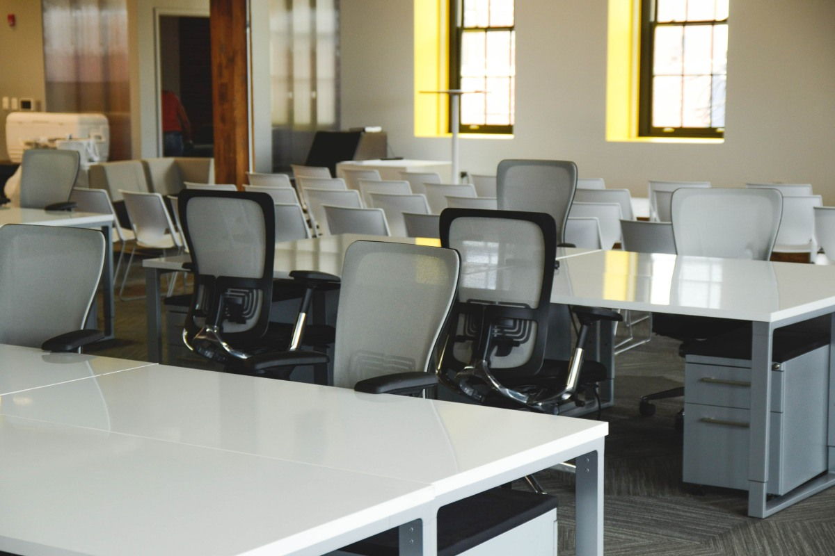 Desks in a coworking space